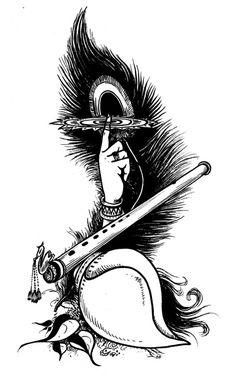 Krishna Symb ol_T size Art Print by Vimalarts Krishna Tattoo, Krishna Drawing, Lord Krishna Sketch, Radha Krishna Sketch, Jai Shree Krishna, Krishna Radha, Durga, Radha Krishna Paintings, Krishna Flute