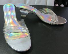"""METAPHOR"" CLEAR & SILVER SIZE 9.5 SLIP-ON SHOES - PLEASE SEE ALL PICTURES #METAPHOR #OpenToe"