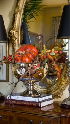 Autumn ~ decor ~ add small pumpkins and fall foliage to silver or other container...