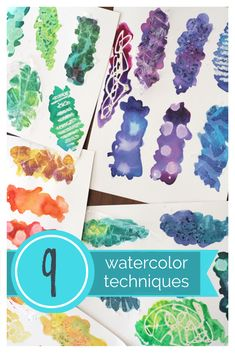 Use simple cake watercolors and household materials to create these nine different watercolor techniques for kids or adults! Source by tableclassroom Watercolor Art Lessons, Watercolor Art Diy, Watercolor Techniques, Watercolour For Kids, Paint Techniques, Art Videos For Kids, Art Lessons For Kids, Art For Kids, Art Projects For Adults