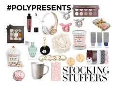 """#PolyPresents: Stocking Stuffers"" by rainydays12 ❤ liked on Polyvore featuring Forever 21, Miss Selfridge, Hollister Co., Burberry, GUESS, Urban Outfitters, Wet n Wild, L'Objet, Fizz & Bubble and Dylan's Candy Bar"