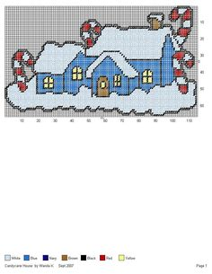 CANDYCANE HOUSE by WANDA K. -- WALL HANGING