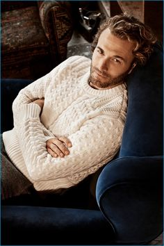 Brad Kroenig pictured in a fisherman sweater from Club Monaco's fall 2016…