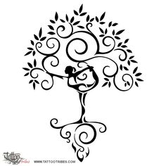 Yoga    Chantal suffers from chronic migraines.    This design symbolizes yoga, which she practices and teaches, and it´s a wish for her to reach the roots of her pain (here represented by the flames among the roots of the tree) and through yoga to overcome this problem blooming again as a tree, strong, prosperous, bringing her fruits to the world.