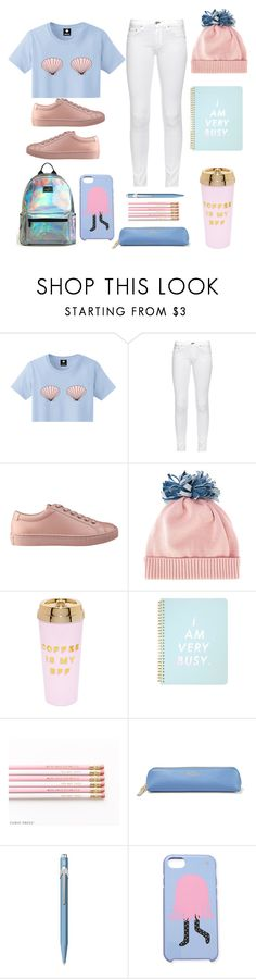 """""""Pink & Blue"""" by amneasicbucky on Polyvore featuring rag & bone, GUESS, Federica Moretti, ban.do, Smythson, Caran D'Ache and Kate Spade"""