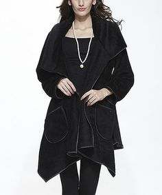 Black Plush Open Sidetail Jacket #zulily #zulilyfinds