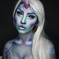 The Last Unicorn Products  used: @mehronmakeup Paradise Paints. Contacts by @ohmykittydotcom in Stargazer. Highlighter is @lyncacarecosmetics in Frost and @litcosmetics Glitter in Afternoon Delight for eyes and tears