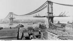 Manhattan Bridge construction, NYC, NY – 1909