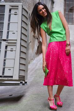 Pink and green! Holiday Outfits, Summer Outfits, Casual Outfits, Fashion Outfits, Preppy Girl, Preppy Look, Color Combinations, Colour Schemes, Rocker Chic