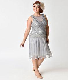 Plus Size 1920s Style Navy Blue Beaded Sylvie Flapper Dress