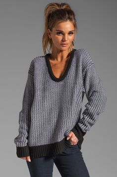 T by Alexander Wang Checkered Float V Neck Dolman in Black and White in Black & White | REVOLVE