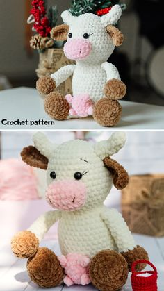 Crochet Cow, Diy Crochet And Knitting, Easy Amigurumi Pattern, Crochet Doll Pattern, Handmade Toys, Etsy Handmade, Handmade Ideas, Handmade Crafts, Crochet Animal Patterns
