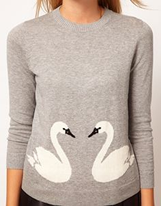 Sweater With Swan Print