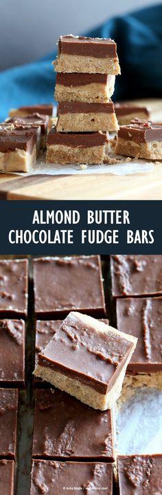 Chocolate Almond Butter Fudge Bars. Easy Vegan Fudge Recipe. Almond Butter or Peanut Butter Fudge. Gluten-free Soy-free Vegan Recipe | VeganRicha.com