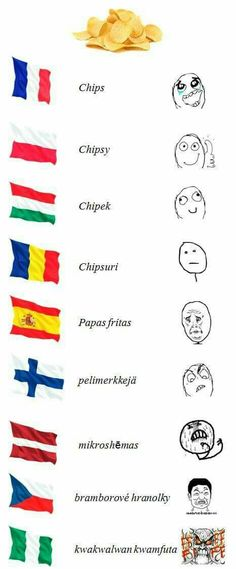 Czech people dont say this, we use word chipsy Wtf Funny, Funny Cute, Funny Jokes, Hilarious, Best Funny Pictures, Funny Images, Words In Other Languages, Troll Face, Derp
