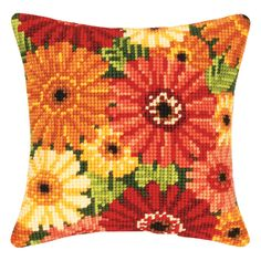 Colorful Mums Pillow Top - Cross Stitch, Needlepoint, Embroidery Kits – Tools and Supplies