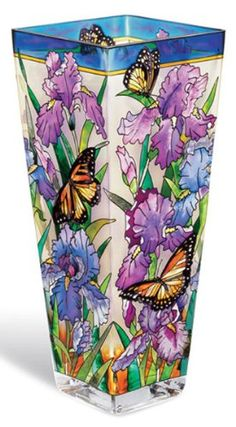 Amia 9696 Vase with Iris and Butterfly Design, Hand-painted Glass, 4-1/4-Inch W by 4-1/4-Inch L by 10-Inch H