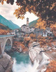 Lavertezzo im Valle Verzasca am Fluss Tessin, Switzerland - Travel Destinations Switzerland In Winter, Places In Switzerland, Switzerland Vacation, 7 Places, Places To Travel, Places To Visit, Europe Travel Tips, Travel Destinations, Travel Guide