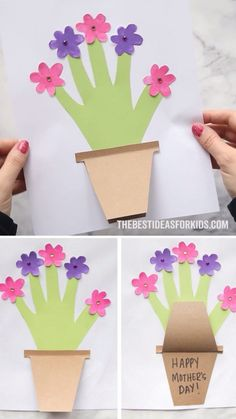 HANDPRINT FLOWER CARD 🌸 - such a cute Mother's day card for kids to make! If you're looking for a Mother's Day Craft for kids this one makes such a great keepsake. ❤ # crochet projects for kids Mother's Day Handprint Flower Pot Daycare Crafts, Sunday School Crafts, Toddler Crafts, Preschool Crafts, Easter Crafts, Holiday Crafts, Fun Crafts, Arts And Crafts, Baby Crafts