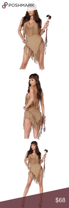 🆕Sexy Native American Costume #723-SM Ready to ship! Sexy Native American Costume. Set Includes: Dress, Headpiece, Tomahawk. Polyester/Spandex Blend. Price is Firm Forplay Other