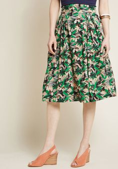 b32eff69e2 Emily and Fin Far-Out and Fabulous Midi Skirt in Toucans Cotton Skirt
