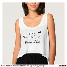 Black Arrows Because of Love Personalized Flowy Crop Tank Top