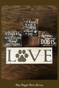Dog signs, home is where the dog is, dog lover signs, rustic dog signs. Find it all here! #affiliate #etsy #doglover #dogsign #dogmom