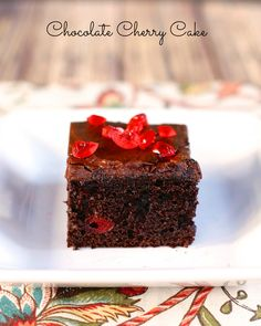 Chocolate Cherry Cake {I'm not a huge fan of chocolate & I don't eat much of it, especially as a cake- but I think this could be something I might enjoy in small doses...}