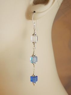 Shades of Blue Wire Wrapped Cube Earrings  #thecraftstar  #handmade  $28.00