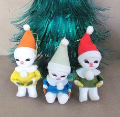Vintage Christmas Ornaments, 1960's Snow Babies Ornaments, Felt Ornaments, Vintage Snowman Ornaments, Christmas Decor, Decoration on Etsy, $25.50