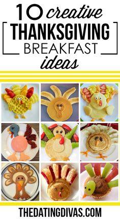 Cute breakfast ideas for Thanksgiving morning. I am loving those turkey pancakes- how fun! TheDatingDivas.com