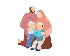 Muslim Father And Mother Teaching Their Kids To Reading Quran Or Book Muslim Family, Muslim Couples, Family Illustration, Cute Illustration, Mother Teach, Mother Son, Baby Family Pictures, Child Teaching, Teaching Reading