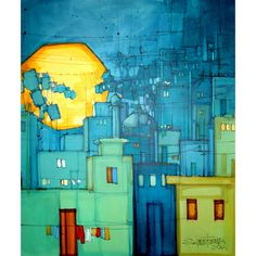Salman Farooqi Central Asia, Cityscapes, Oil Paintings, Pakistan, Contemporary Art, Landscapes, Projects To Try, Denim, Architecture