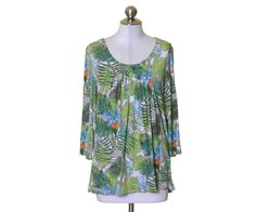 Christopher & Banks Green White Blue Floral Print Stretch Knit Rayon Top Size L #ChristopherBanks #KnitTop #Casual