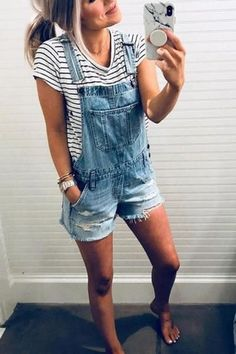 Ripped Shorts Denim Romper Another great comeback. Cute distressed overalls with Teenage Outfits, Outfit Ideas For Teen Girls, Mom Outfits, Laid Back Outfits, Club Outfits, Office Outfits, Gray Outfits, Ladies Outfits, Beach Outfits