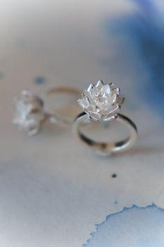 Lotus flower engagement ring proposal ring sterling silver