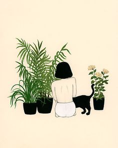 girl, plants and a cat