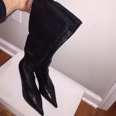 Napa leather boots !!! Black Napa leather ( genuine lamb / very soft leather/ high quality ) Boots were worn 2 times - you can see it by the sole . Excellent condition , like new ! Made in Italy . -- Shoes Heeled Boots
