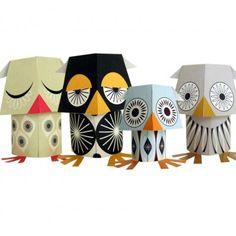 Paper Toys Hiboux [Mibo - éditions Coq en pâte] 10€ http://shop.lillibulle.com/2083-paper-toys-hiboux-mibo-editions-coq-en-pate-.html