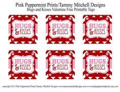 FREEBIE: Hugs and Kisses Valentine Free Printable Tag/Card - Entertain | Fun DIY Party Craft Ideas