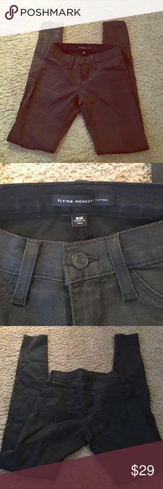 Black flying monkey jeggings/skinny jeans Black flying monkey jeggings. Never worn! Faux pockets on the front. flying monkey Jeans Skinny