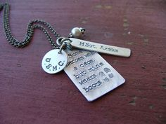 Some Heroes Wear A Cape But Mine Wears Boots Custom Hand Stamped Necklace by MyBella Hand Stamped Necklace, Stamped Jewelry, Wire Jewelry, Jewelry Crafts, Dog Tag Necklace, Jewelery, Handmade Jewelry, Unique Jewelry, Jewelry Stamping