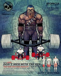 leg exercises: trap bar deadlift chewie I lovvvve this thing -- wish my new gym had one. Crossfit, Bodybuilding, Gym Training, Weight Training, Trap Bar Deadlift, Hex Bar Deadlift, Superhero Workout, Workout Posters, My Gym