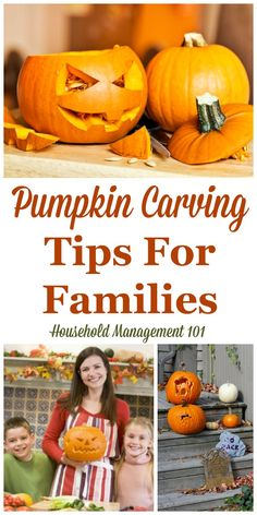 Pumpkin carving tips written from the perspective of doing this activity with your kids, and focusing on safety, design, and also making your pumpkin last {on Household Management 101}