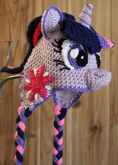 Twilight Sparkle Crochet Hat -- Digital Pattern Only -- My Little Pony Crochet Pony, Crochet Kids Hats, Crochet Girls, Knit Or Crochet, Free Crochet, Knitted Hats, Crochet Hat Tutorial, Crochet Character Hats, Foto Baby