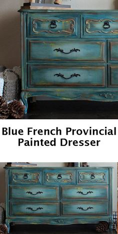 Blue painted french provincial dresser - painted furniture #affiliate