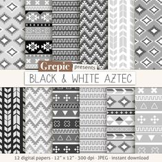 "Aztec digital paper: ""BLACK & WHITE AZTEC"" aztec patterns, tribal backgrounds, grey, gray geometric, black white, digital, triangles #clipart #download"