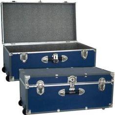 Mercury Luggage Seward Trunk Wheeled Storage Footlocker, 30 Inch, Blue    Brought To You