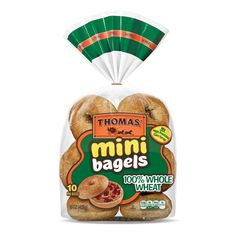 Thomas' Whole Wheat Pre-Sliced Mini Bagels - - image 1 of 4 Healthy Halloween Treats, Small Meals, Ben And Jerrys Ice Cream, Corn Syrup, Serving Size, Brunch, Bagels, Mini, Food