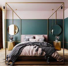 10 Bedroom Trends for 2019 - Schlafzimmer Design 2018 - Bedroom Decor Bedroom Wall Paint Colors, Art Deco Bedroom, Home Decor Bedroom, Bedroom Designs, Fancy Bedroom, Bedroom Furniture, Dark Teal Bedroom, Jewel Tone Bedroom, Glam Bedroom